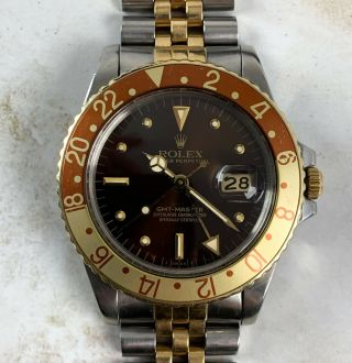Vintage Rolex Gmt - Master Two - Tone Root Beer Nipple Dial Wristwatch Ref.  16753 Nr
