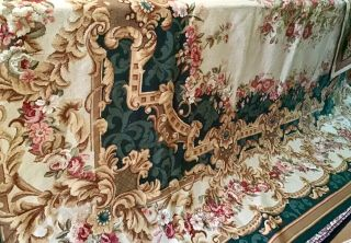 "Georgeous 11'8"" X 8'8"" Aubusson Rug Shades Of Green,  Rose,  Gold And Cream"
