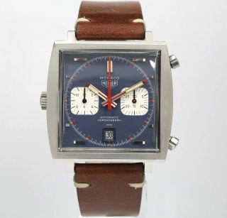 Vintage Heuer Monaco 1133b Mcqueen 40mm Mens Automatic Chronograph Swiss Watch