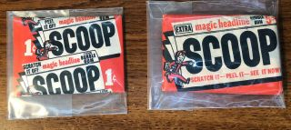1954 Topps Scoop 1 Cent & 5 Cent Wax Packs Rare Babe Ruth Titanic ?