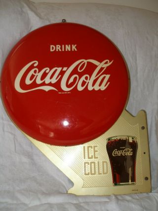 "Vintage Rare 1949 Coca - Cola 16 "" Button Flange Sign"