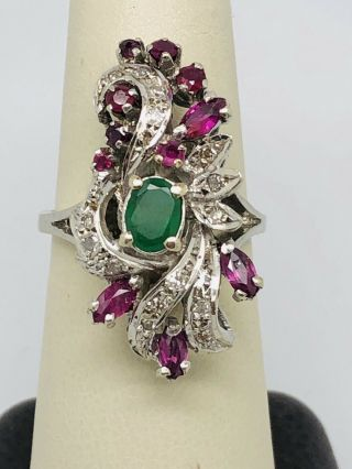 Vintage 14k White Gold Emerald,  Ruby,  And Diamond Cocktail Ring
