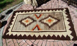 Antique Navajo Rug Large Native American Shabby Chic Cabin Weaving