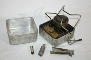 Vintage Optimus 199 Ranger Gas Camping Stove,  W/ Air Pump,  & Clamp Handle
