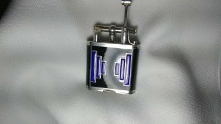 RARE 1927 DUNHILLL UNIQUE STERLING SWISS GLASS B SIZE LIFT ARM LIGHTER 7