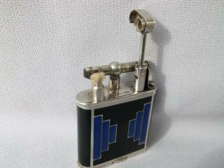 RARE 1927 DUNHILLL UNIQUE STERLING SWISS GLASS B SIZE LIFT ARM LIGHTER 9