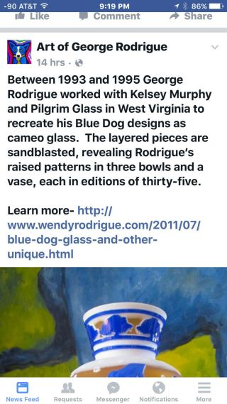 RARE George Rodrigue Pilgrim Blue Dog Vase - Winter Fest Cameo Glass 35 7