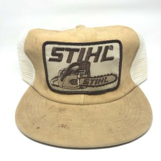 Vintage Stihl Chainsaw Patch Suede Snapback Trucker Hat Cap 79s 80s Usa Mesh