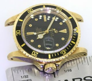 Rolex Submariner 1680 18K YG Rare Gilt nipple dial 5.  27mil serial watch head 8