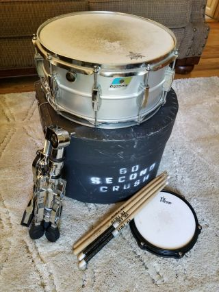 Ludwig Acrolite Vintage Snare Drum 6.  5x14 Inch 1970s With Stand,  Case &