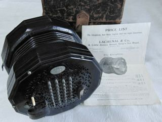 Vintage Lachenal & Co.  60 Key The Edeophone 45573 Concertina Rd129662 W/ Case