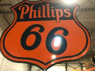 Vtg Phillips 66 Two Sided Porcelain Gas Station Sign W/steel Ring,