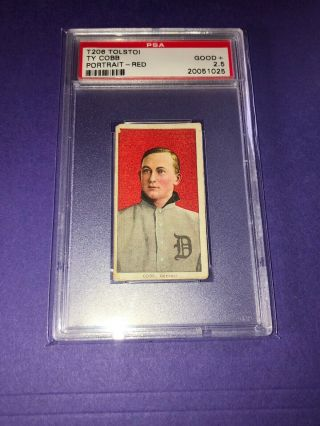 1909 - 11 T206 Ty Cobb RED PORTRAIT,  TOLSTOI PSA 2.  5 Good,  Rare Back 2