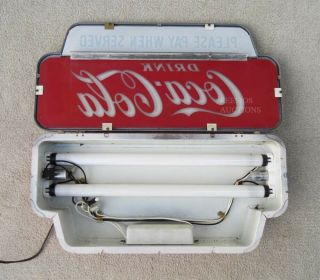 NICEST VINTAGE 1950 COCA COLA LIGHTED CASHIER PAY WHEN SERVED SIGN NO RES 10