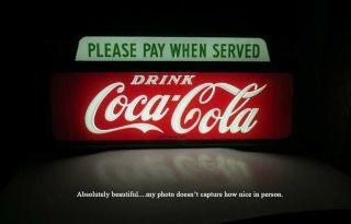 NICEST VINTAGE 1950 COCA COLA LIGHTED CASHIER PAY WHEN SERVED SIGN NO RES 9