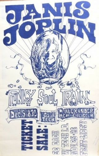 Janis Joplin Mega Rare Dec.  5th,  1969 - Georgia Tech Concert Poster