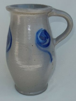 Vtg.  Country French Salt Glaze Stoneware Pottery Pitcher W/cobalt Blue Design