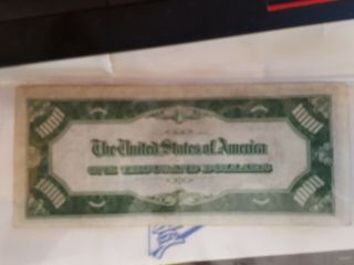 1934 $1000 One Thousand Dollar Bill Rare Chicago Currency Note 2