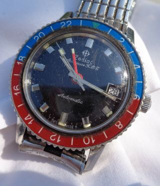 Rare Vintage Zodiac Aerospace Gmt Automatic Wristwatch With Pepsi Dial Running