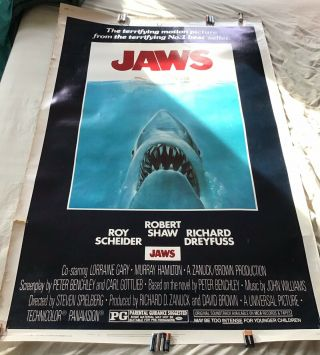 Jaws (1975) Vintage 40x60 Heavy Stock Rare Movie Poster Spielberg