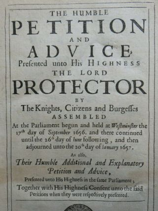 Rare Humble Petition & Advice Protector 1657 Cromwell Commonwealth Power Oath