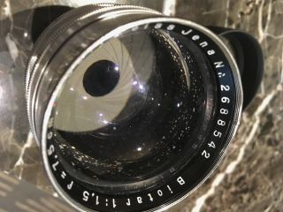 Zeiss Jena Biotar 75mm 7.  5cm F1.  5 Red T First Heavy Version 1942 WW2 RARE 5