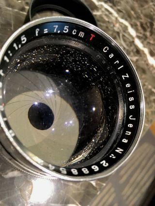 Zeiss Jena Biotar 75mm 7.  5cm F1.  5 Red T First Heavy Version 1942 WW2 RARE 6