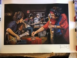 Signed Rare Lithograph Art Rolling Stones Ronnie Wood Signed/conversation Piece
