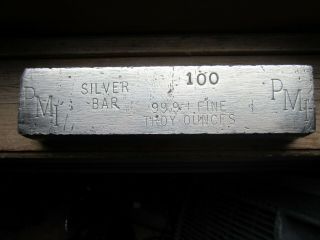 Vintage Silver Bar 100.  Oz 99.  9,  Fine Silver Stamped P.  M.  C.  Very Rare