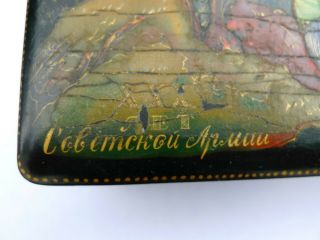Vintage Soviet Russian lacquered Palekh hand painted box Red Army warriors WWII 2