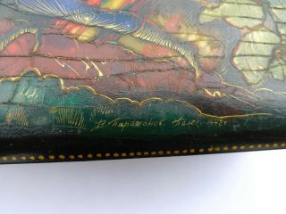 Vintage Soviet Russian lacquered Palekh hand painted box Red Army warriors WWII 3