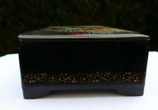 Vintage Soviet Russian lacquered Palekh hand painted box Red Army warriors WWII 5