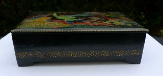 Vintage Soviet Russian lacquered Palekh hand painted box Red Army warriors WWII 6