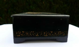 Vintage Soviet Russian lacquered Palekh hand painted box Red Army warriors WWII 7