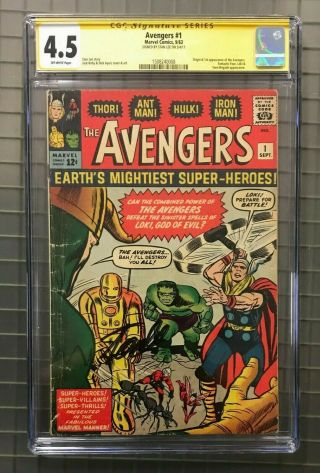Avengers 1 Marvel Comics 1963 Stan Lee Signed Auto Cgc 4.  5 1st Appearance Rare