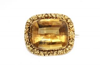 A Fine Large Antique Victorian 15ct 625 Yellow Gold Citrine Brooch 13220