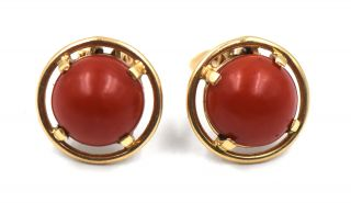 Antique Arts & Crafts Coral Button Hinged Clip On Earrings 14k Yellow Gold