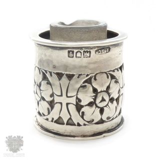Antique Sterling Silver Omar Ramsden & Carr Arts & Crafts Miniature Inkwell