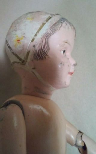 1912 Very Rare Schoenhut Doll Articulated Wood Hair Carved Model 106