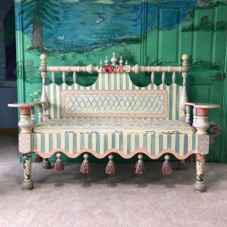 Mackenzie Childs Bench,  Visiting Seat W/ Majolica Tassels Vintage,  Furniture