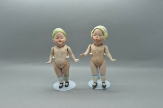 Antique Germany Porcelain Bisque 2 Doll Cap Impish Character From Limbach 1900