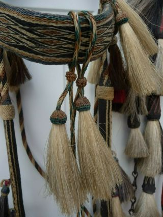 Very Rare Deerlodge Prison Montana Hitched Horse Hair Bridle C - 1880 - 1920 5