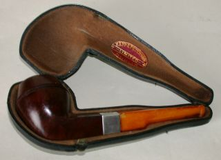 Antique Peterson Smokers Pipe With Silver Collar & Amber Stem 1913