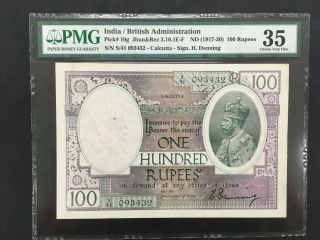 India (british Admin. ) 100 Rupees 1917 - 1930 - - Pmg 35 Vf - - - Rare Calcutta