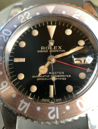 Vintage Rolex GMT Master 1675 Gilt Dial from 1960s full set Chrono Cert Punched 4