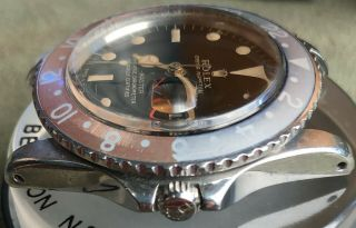 Vintage Rolex GMT Master 1675 Gilt Dial from 1960s full set Chrono Cert Punched 7