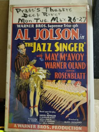 "Vintage Window Card For "" The Jazz Singer "" With Al Jolson."
