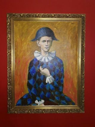 Rare Pablo Picasso Harlequin Oil Painting On Canvas Signed & Framed