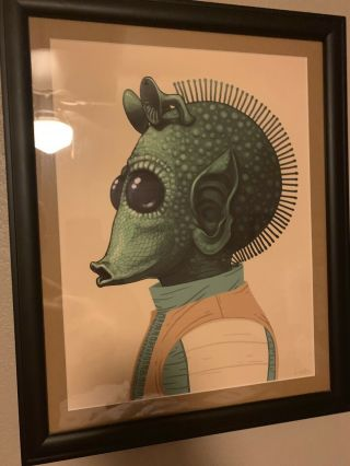 "Greedo Mike Mitchell Star Wars Framed 12 "" X 16 "" Rare Mondo Print Poster"