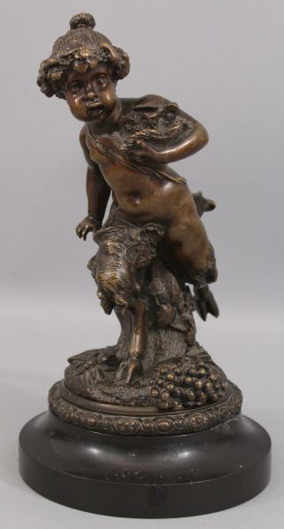 Antique 19th Mythological Bronze Sculpture Young Satyr/pan Slate Base